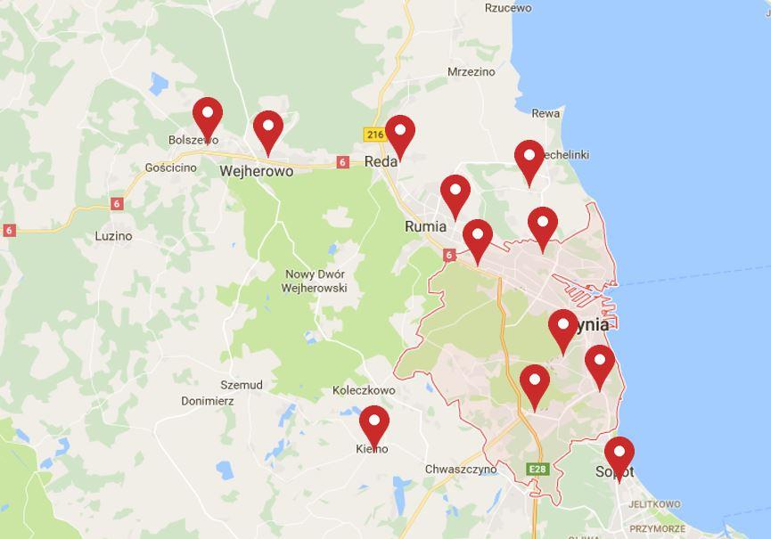 mapa punktów zbiórki odpadów niebezpiecznych