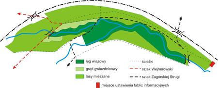 Rezerwat Kacze Łęgi mapa