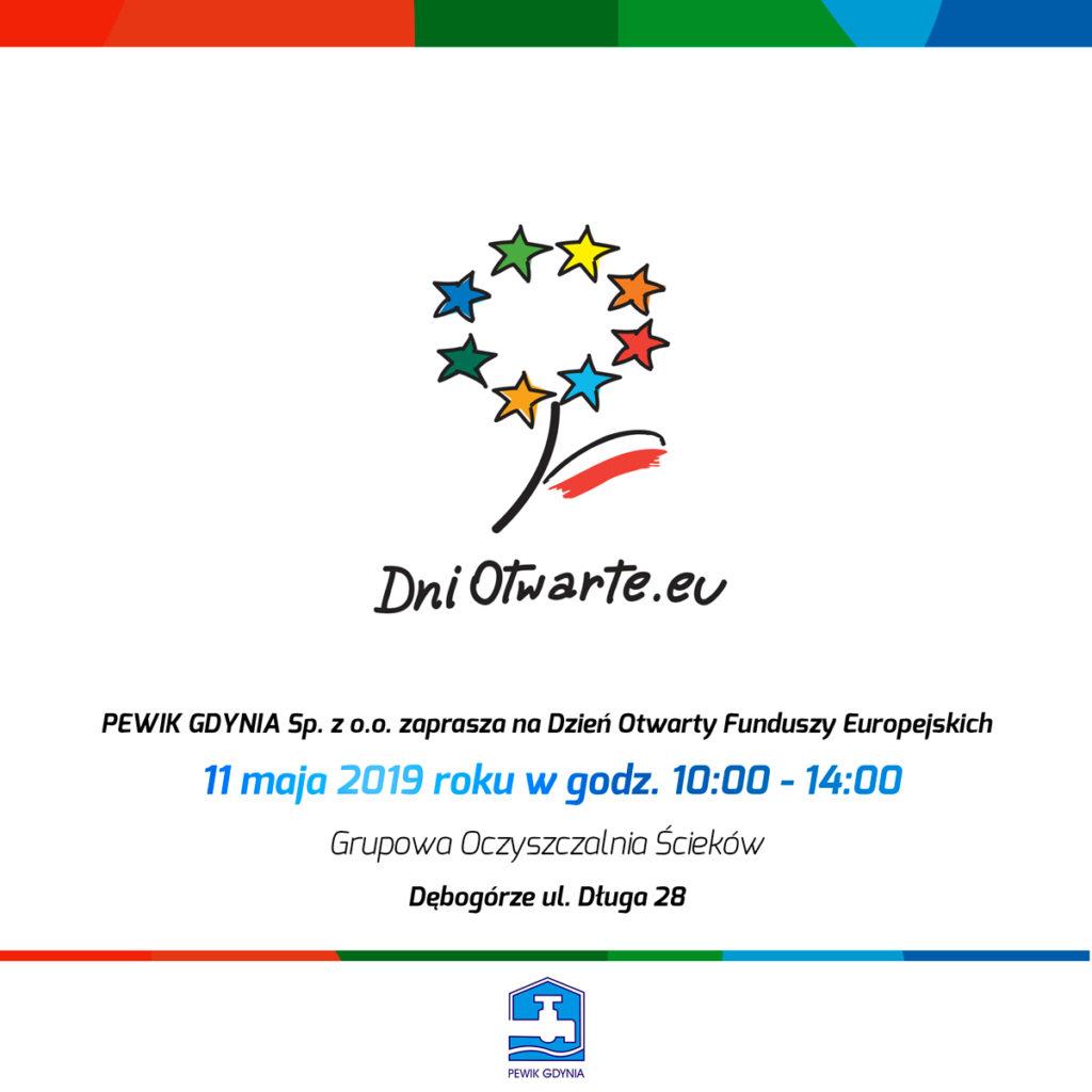 Plakat promujący Dzień Otwarty Funduszy Europejskich w Grupowej Oczyszczalni Ścieków Dębogórze