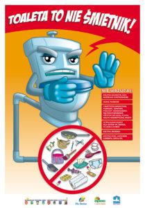 """Plakat kampanii edukacyjnej """"Toaleta to nie śmietnik"""" wersja 2"""