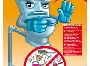 Plakat edukacyjny kampanii toaleta to nie śmietnik