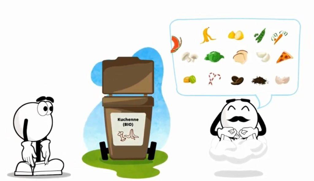 Grafika przedstawiająca odpady kuchenne (bioodpady) i kosz koloru brązowego.