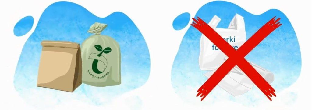 Grafika przedstawiająca worek papierowy i biodegradowalny (opakowania bezpieczne dla środowiska) oraz torebki foliowe jako niepożądane rodzaje opakowań.