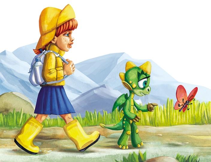 Kilkuletnia dziewczynka i mały zielony smok spacerują na tle gór.